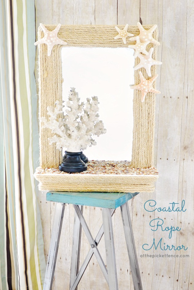 This DIY coastal rope mirror has all the elements of the beach.