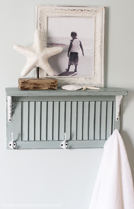 This shutter turned towel rack is beachy and great for storage.