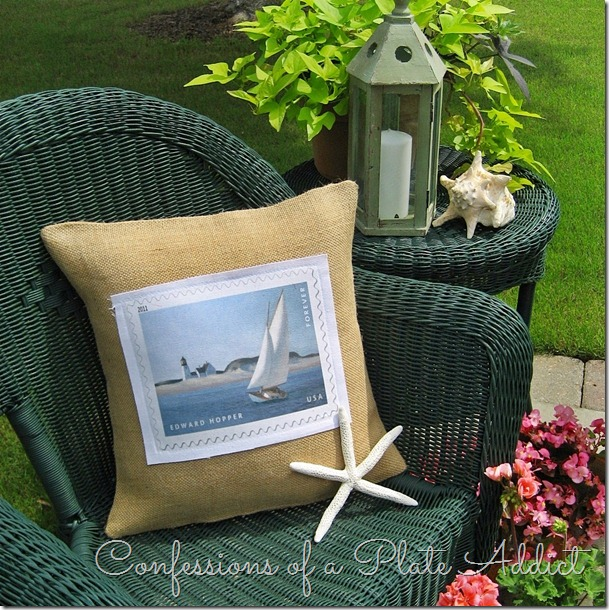 This DIY burlap pillow with a boating picture on the front is a nice coastal element.