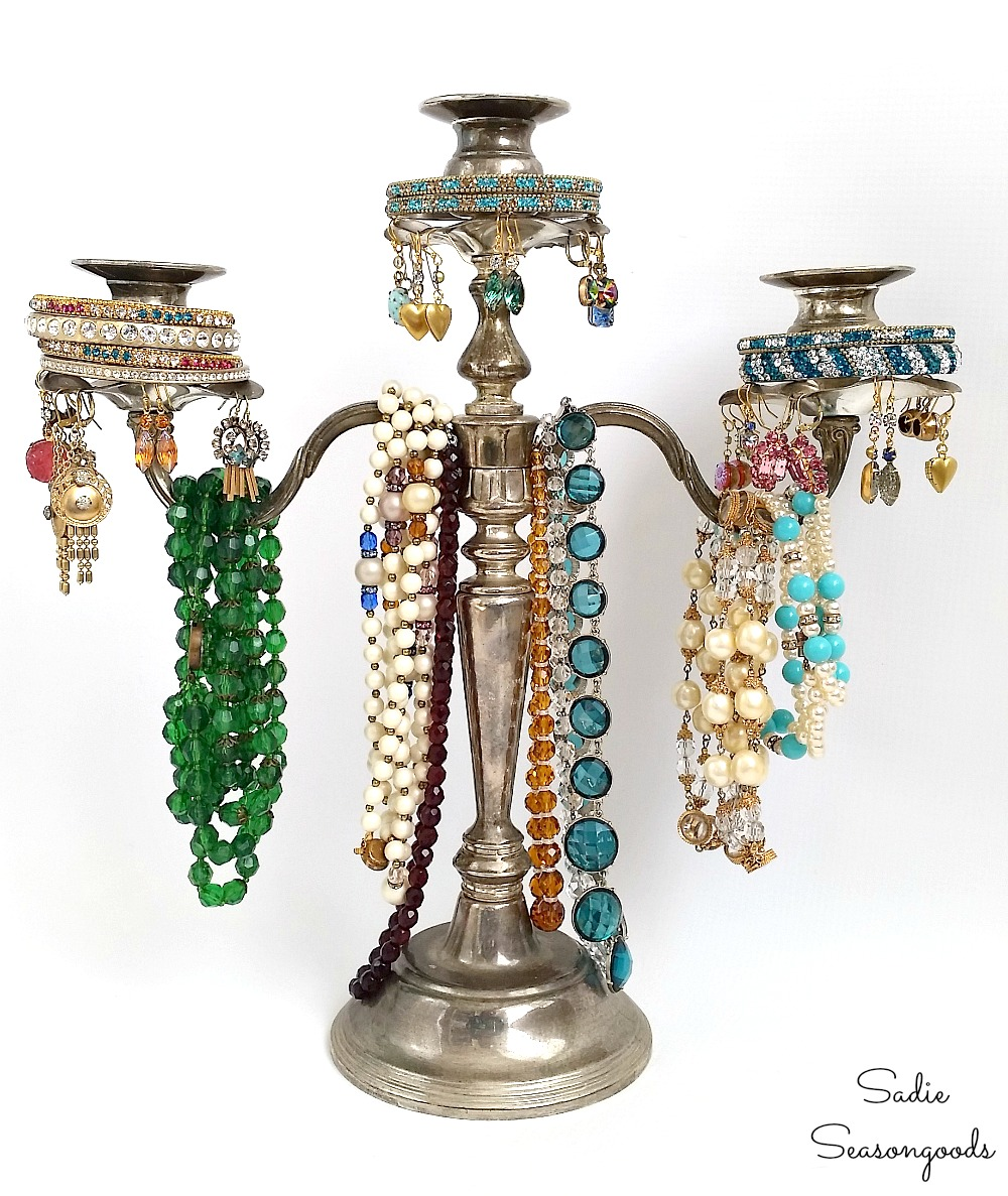 This antique candle holders makes a fun jewelry organizer.