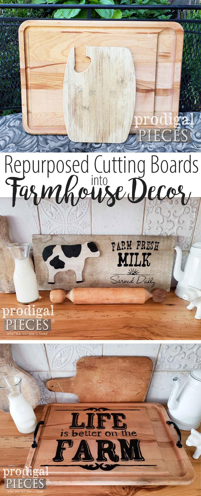 Old cutting boards repurposed into adorable farmhouse decor