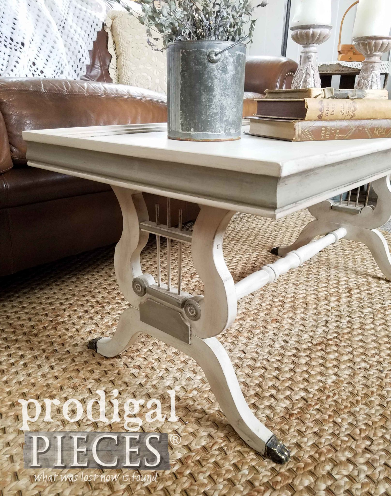 I love the harp detail on the legs of this refurbished coffee table