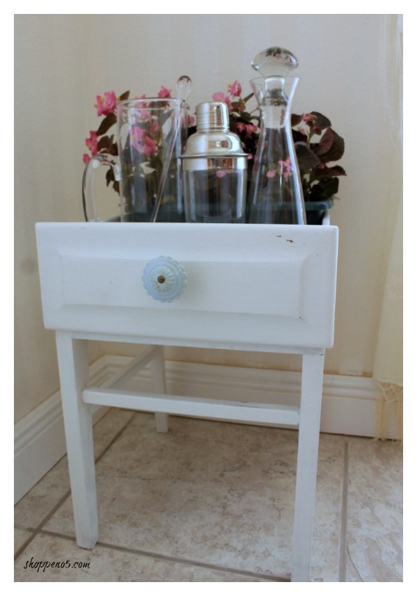This re-purposed dresser drawer makes the perfect mini bar area.