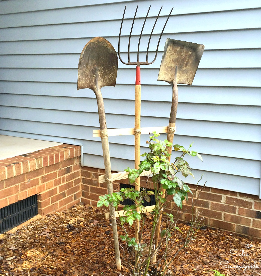 Using gardening tools as decor is a fun way to try something unexpected.