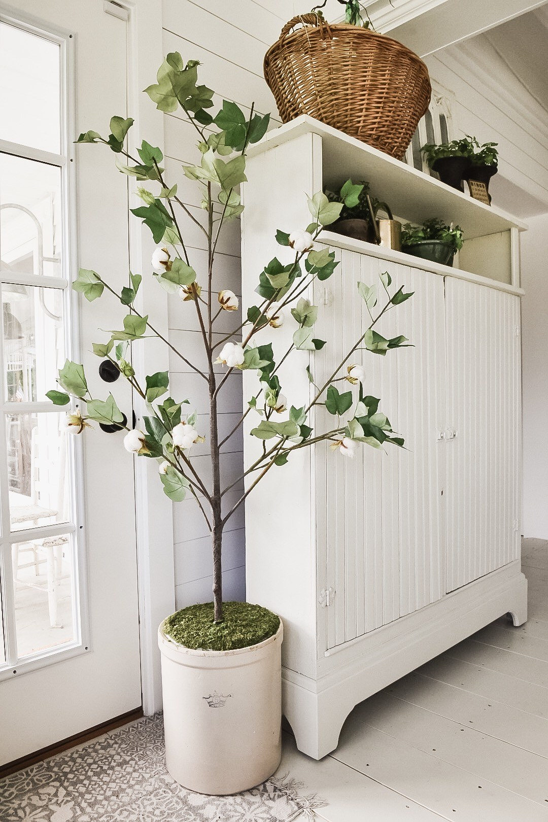 faux potted plants are a simple farmhouse style diy that adds freshness to any room