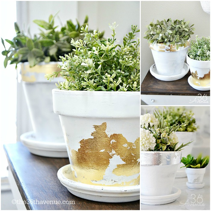 These painted flower pots with hints of gold and silver are chic.