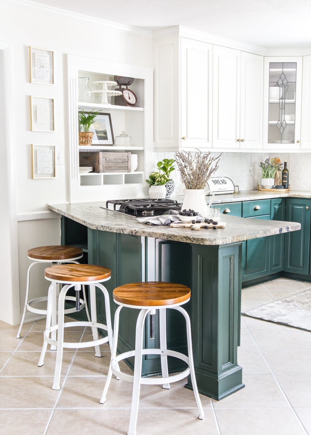 This bright kitchen combines color and style to make a statement
