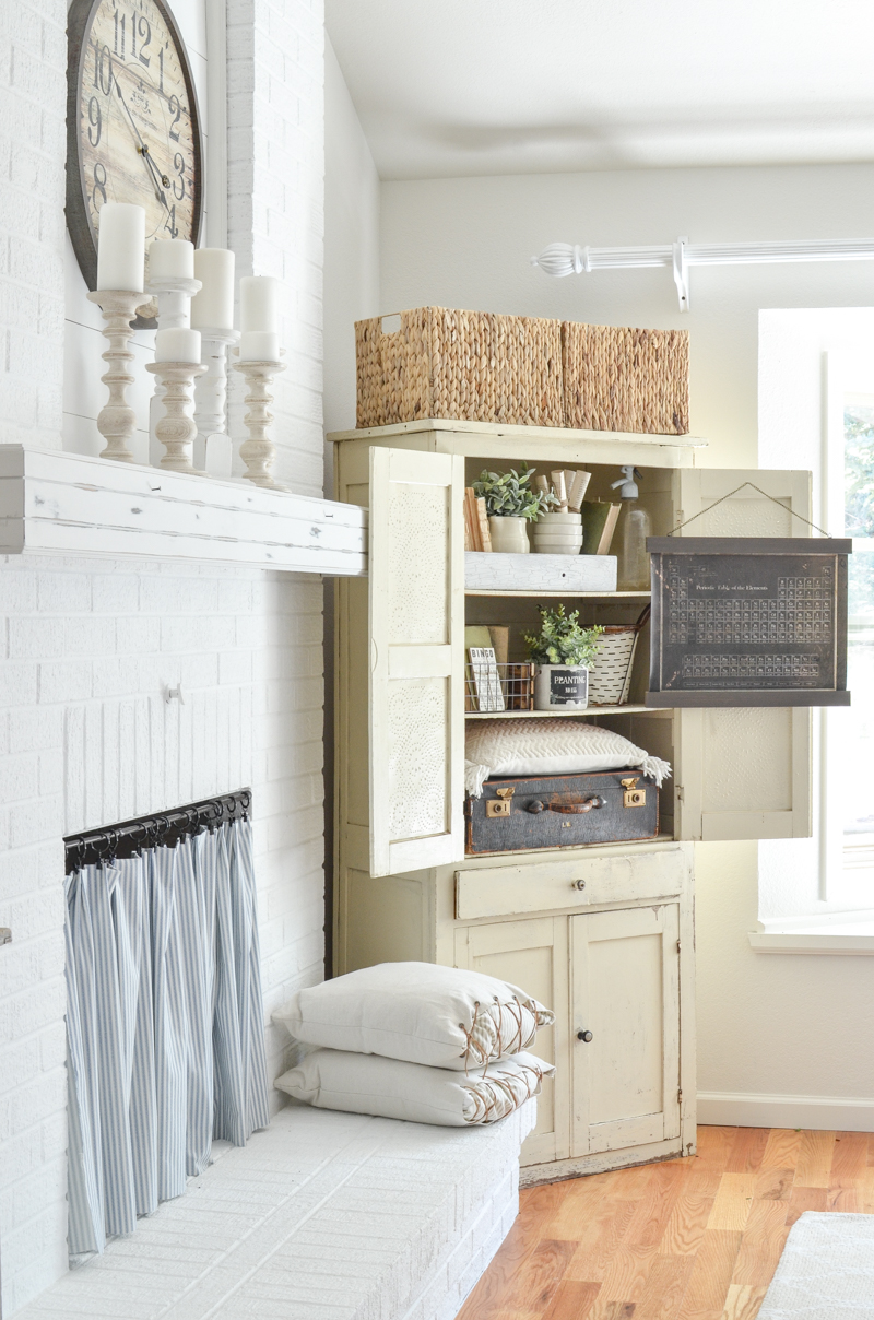 This rustic storage cabinet is packed with vintage farmhouse goodies that deserve to be on display