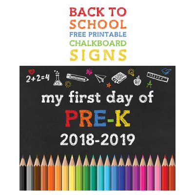 FREE PRINTABLE BACK To SCHOOL CHALKBOARD SIGNS /// 2018-2019