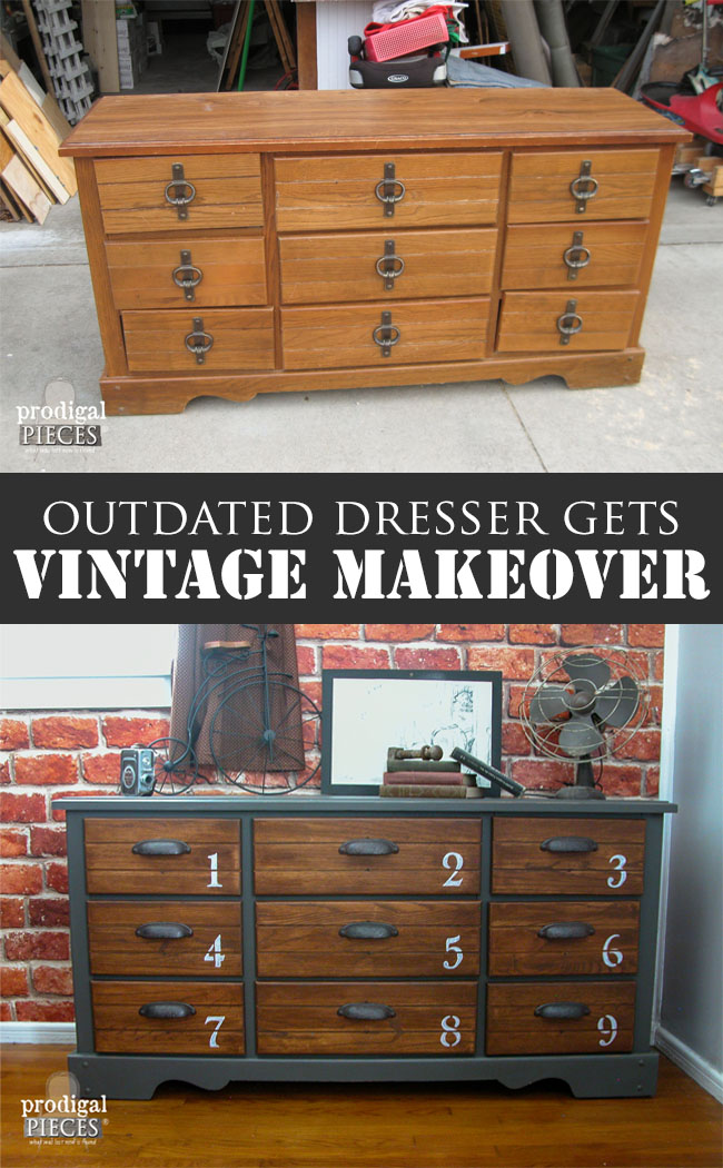 This outdated thrift store dresses got an amazing makeover with some charcoal gray paint and new hardware