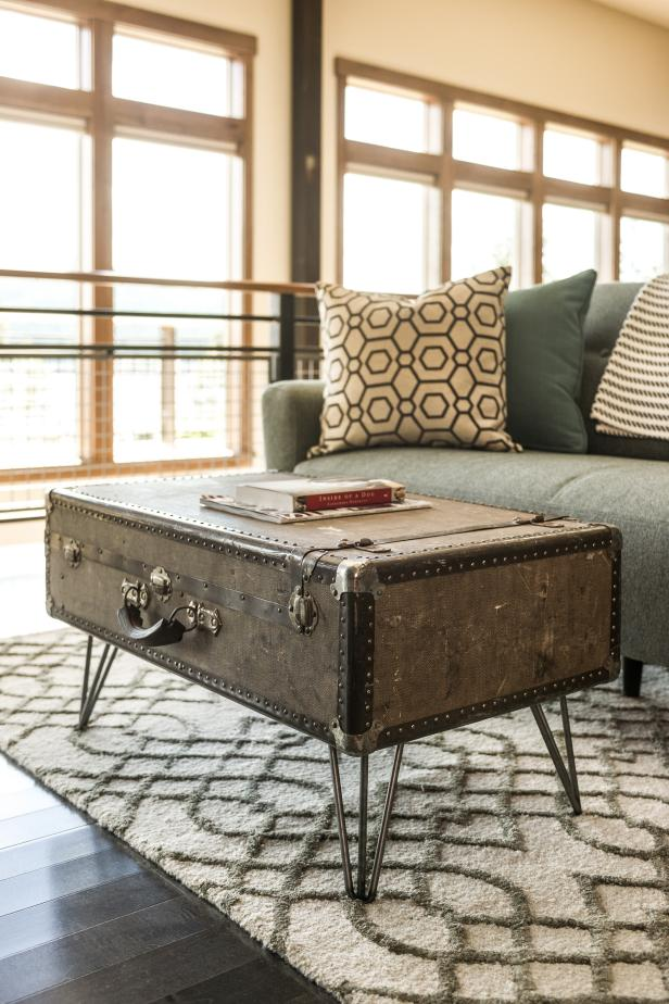 Add some legs to this vintage traveling chest and you've got a stunning industrial style coffee table