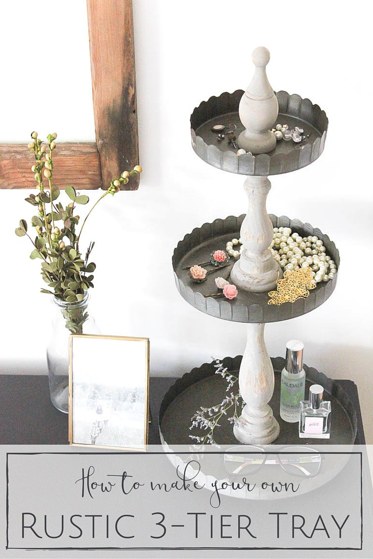 This rustic three tiered tray is a lovely mix of industrial and chic styles