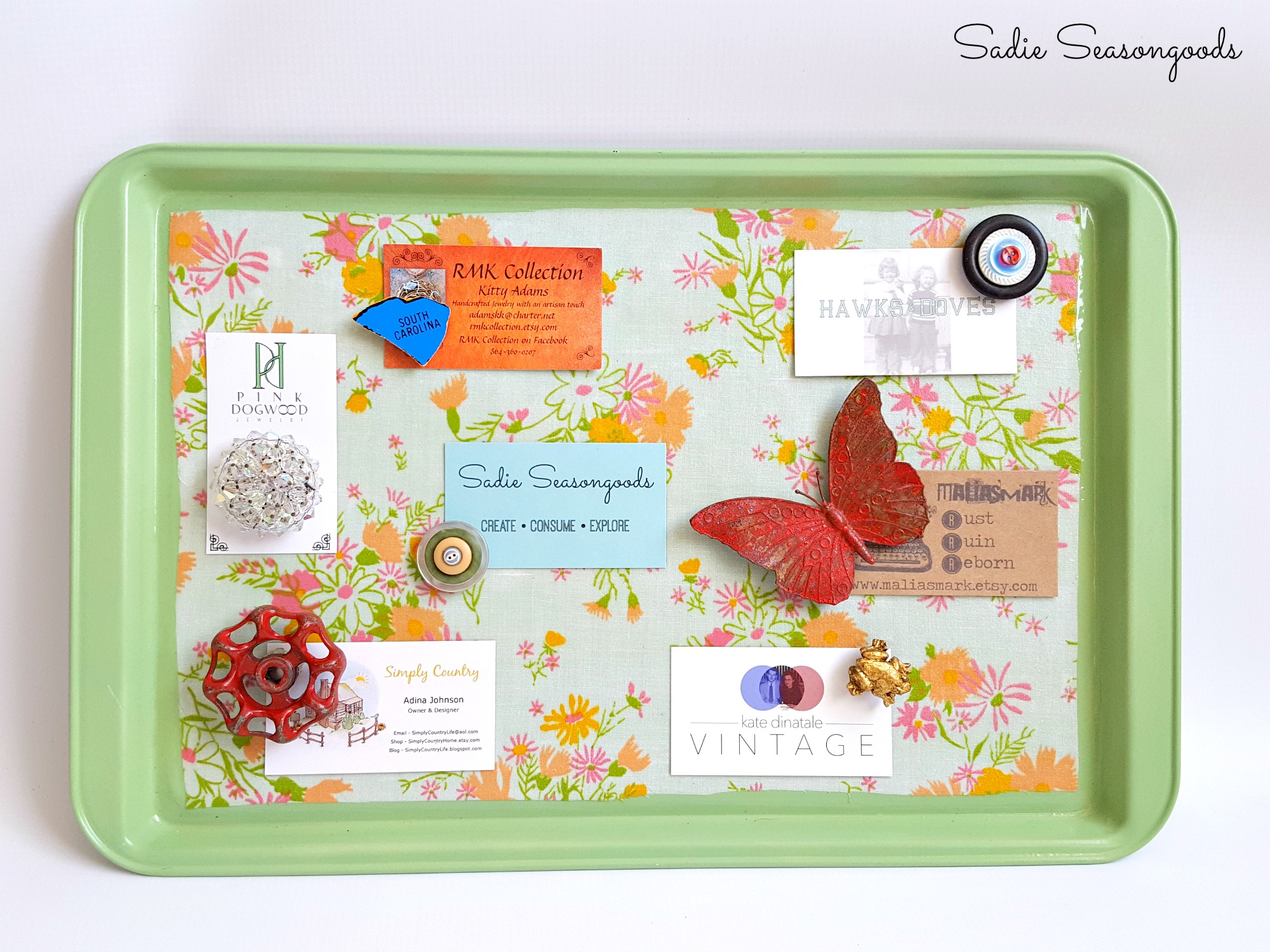 One coast of paint made this cookie tray a creative magnetic message board