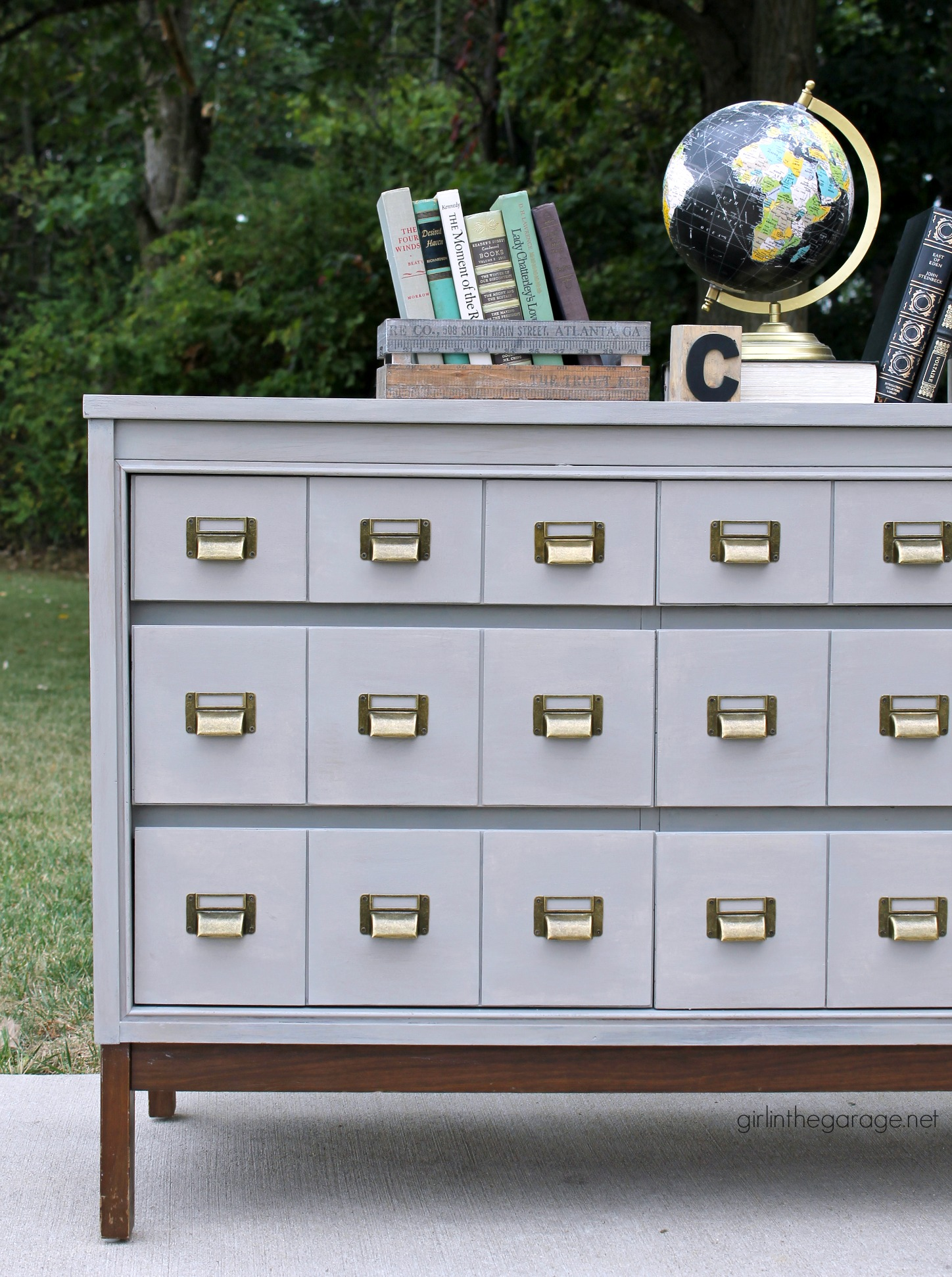 Letter drawer dressers are a popular vintage accessory and with a fresh coat of paint, this fixer upper makeover is stunning