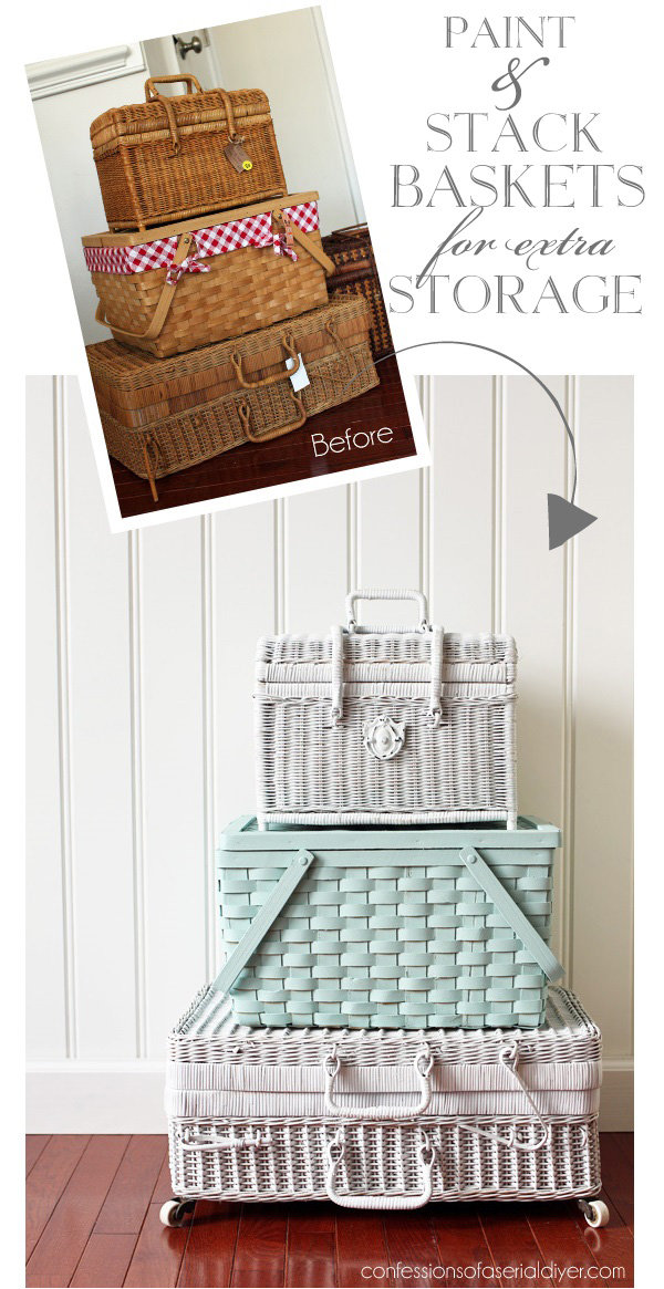 These cute woven storage baskets are DIY gold and you can often find them at thrift stores