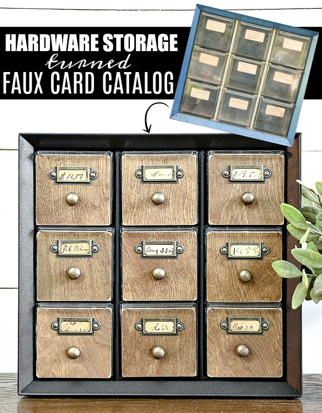 This hardware storage cabinet transformed into an amazing faux card catalog
