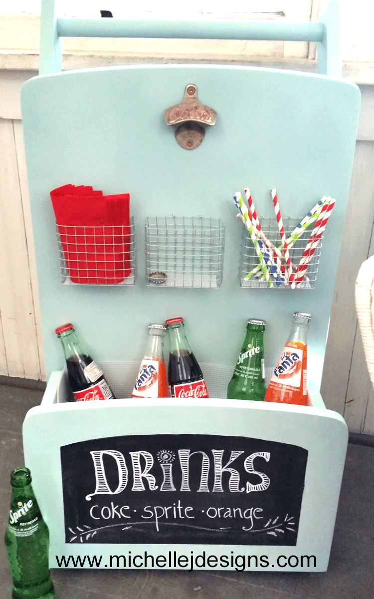 This party ready drink station was upcycled from a thrift store side table