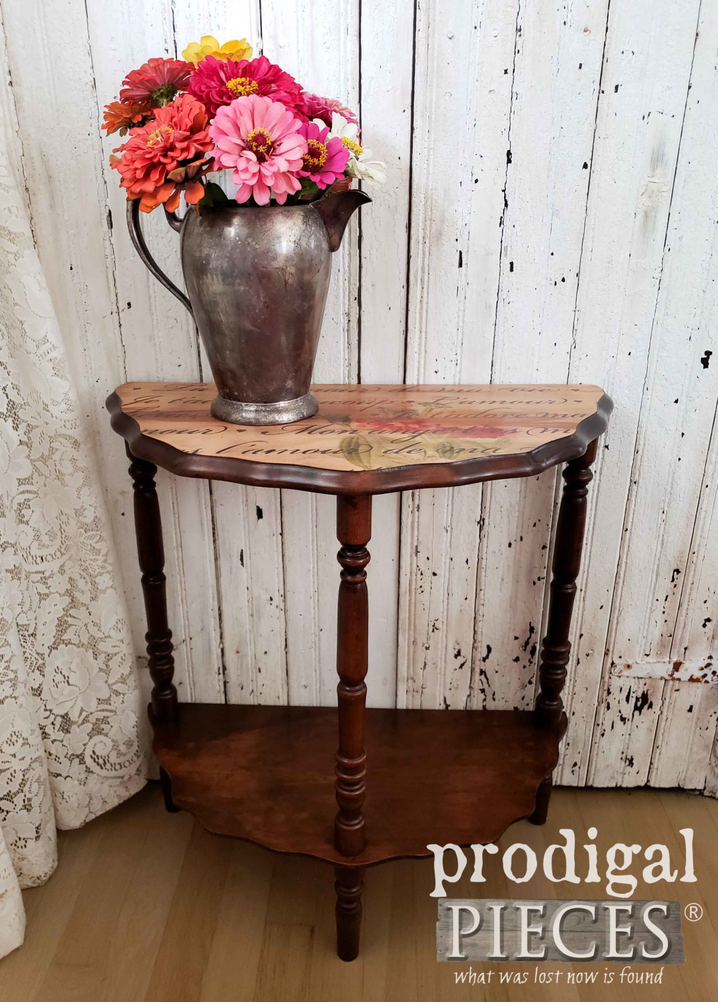 This small side table got a second chance to shine with some new stain and veneer table top
