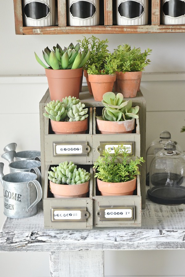 This card catalog is a new potted plant holder with a fresh coat of paint and some labels
