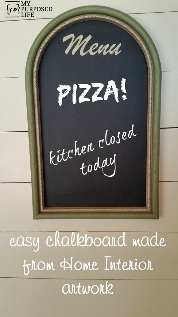 This restaurant style chalkboard was made with refurbished artwork frames