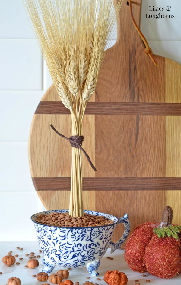 This DIY wheat teacup decor element is great for the fall season.