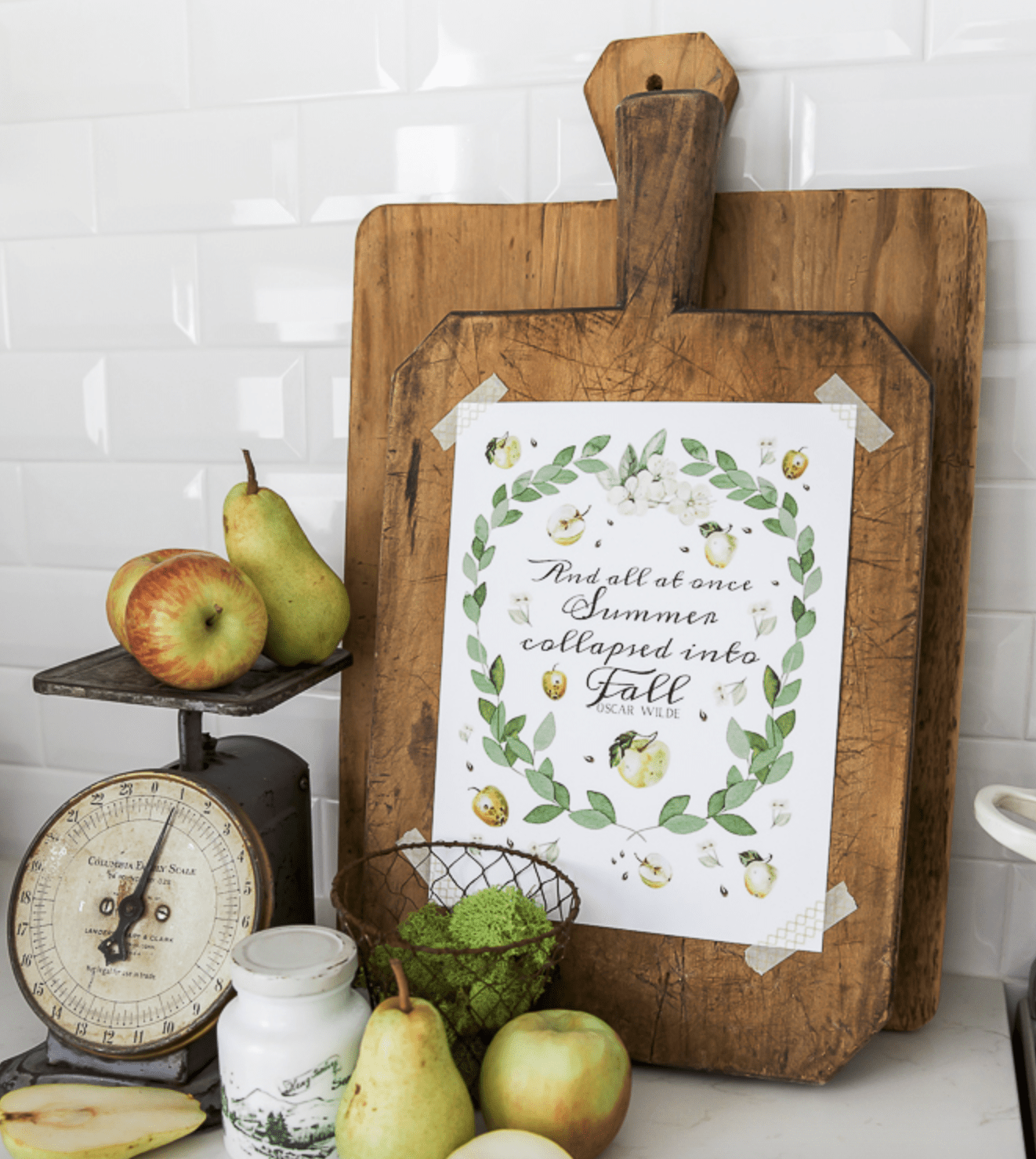 This adorable quote on the kitchen cutting boards is a sweet addition.