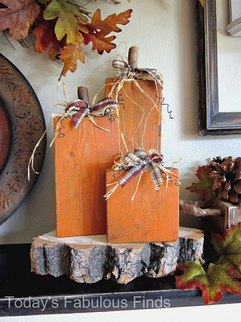 These orange wood blocks are great when decorating for fall.