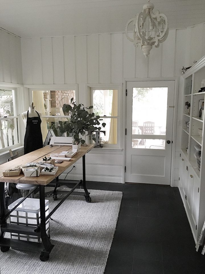 This functional outdoor space has simple farmhouse elements to give the room a unique style
