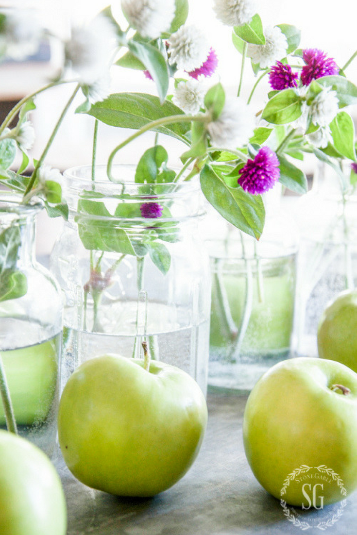 The freshness of these plants and apples is a simple way to decorate with color