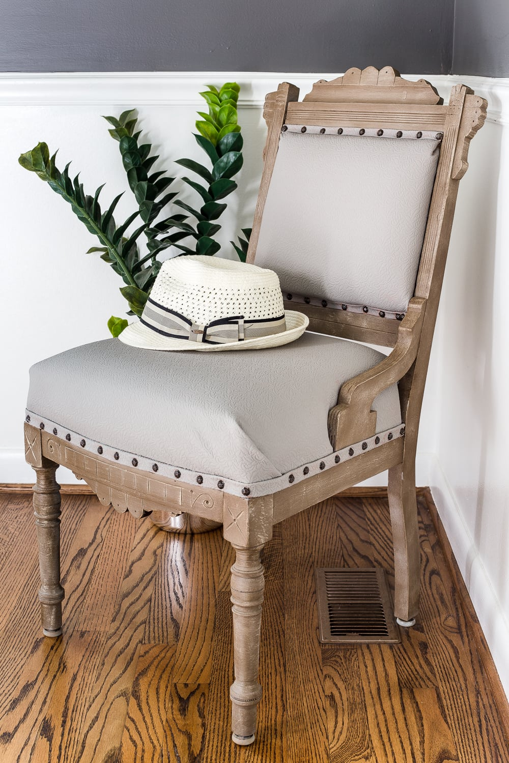 This gorgeous accent chair was a diy makeover that added a sleek modern farmhouse touch to the room
