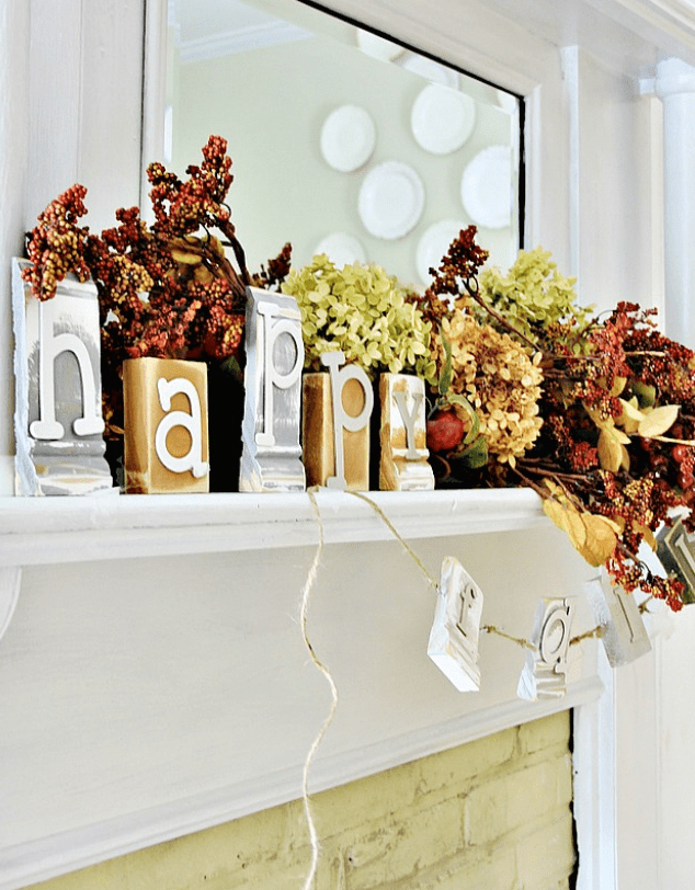 This Happy Fall sign made from pieces of left over crown molding is festive.