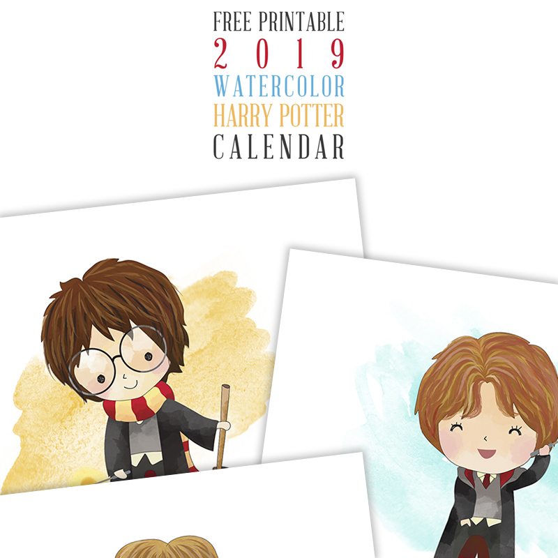 Enjoy this Free Printable 2019 Watercolor Harry Potter Calendar