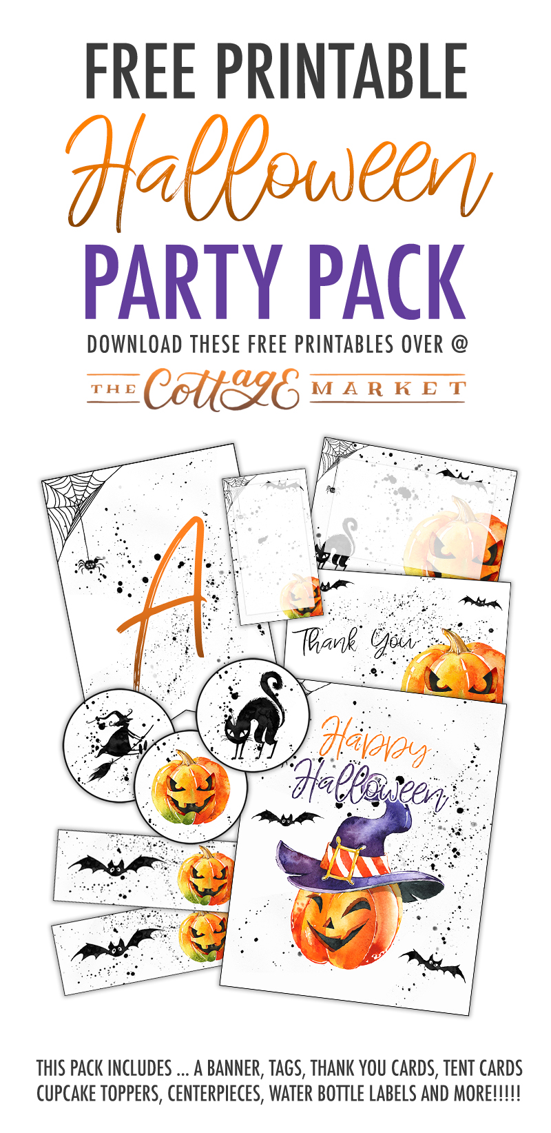 We have something awesome for you today! It's time for a Free Printable Halloween Party Pack! It has a full banner...cupcake toppers and invitation & More!