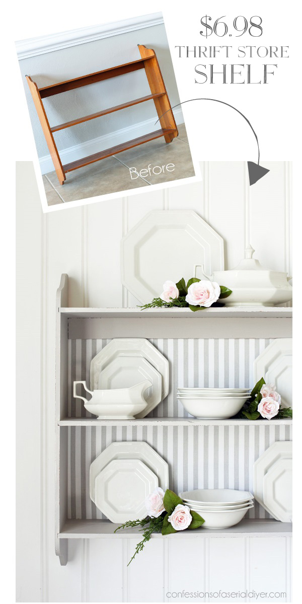 This thrift store shelf painted white is adorable for displaying dishes and china.
