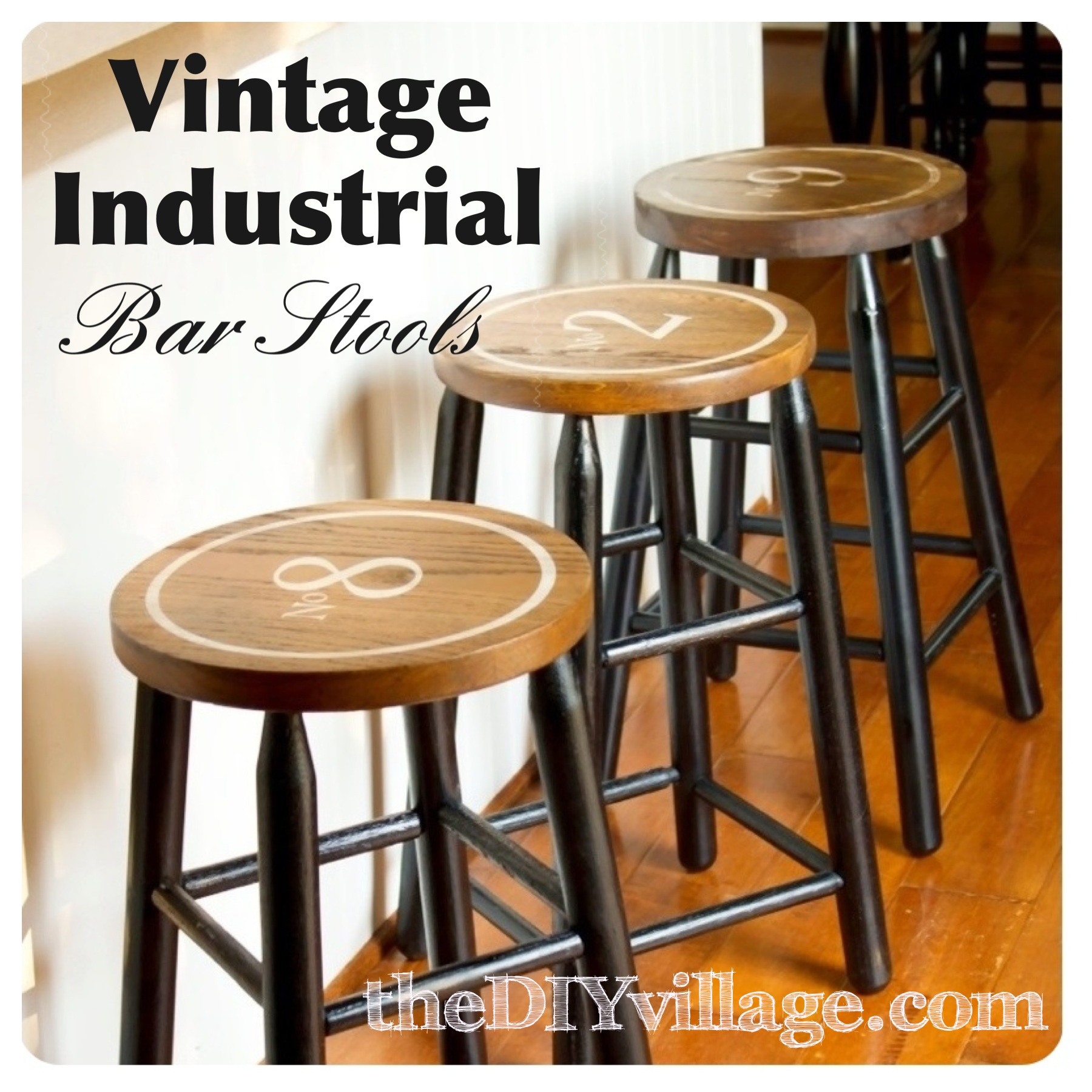 These vintage industrial bar stools are trendy and classic.