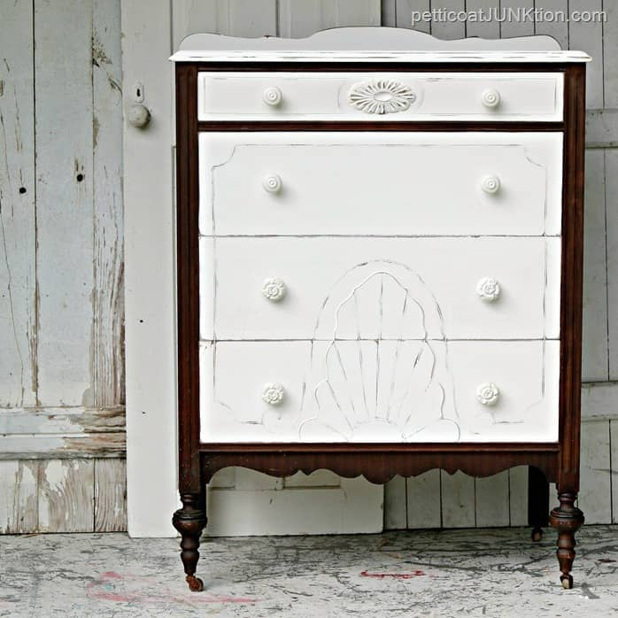 This vintage dresser looks antique and charming.