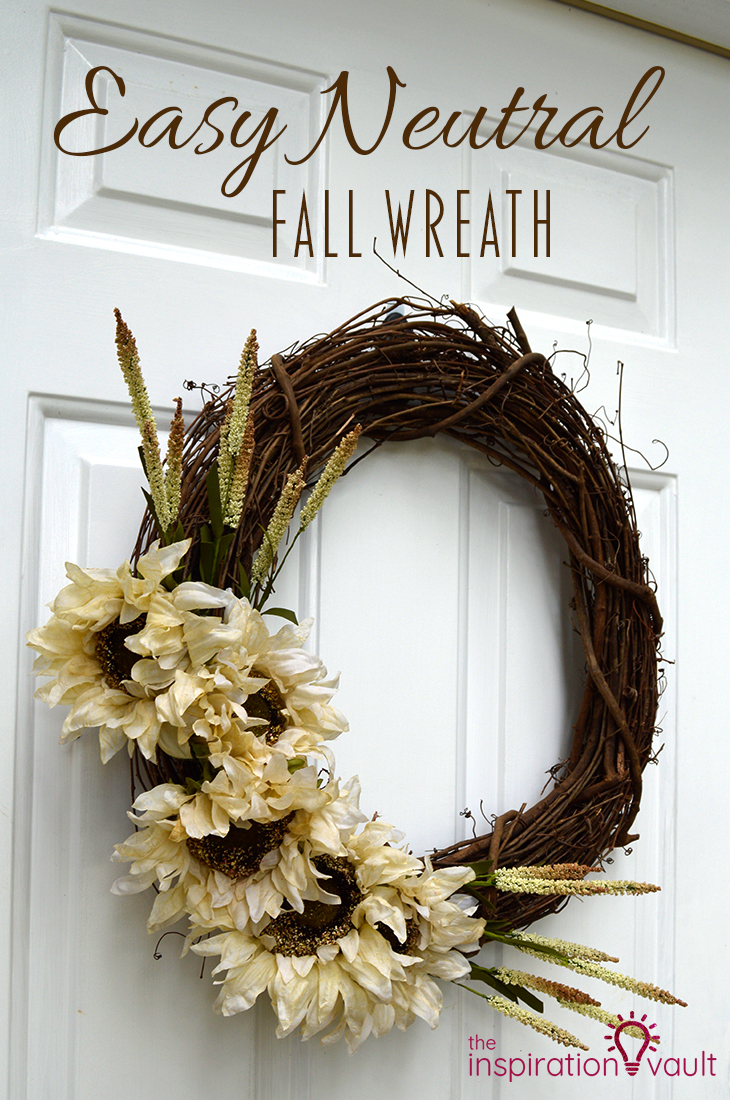 This neutral fall wreath with white flowers is easy to make and simple.