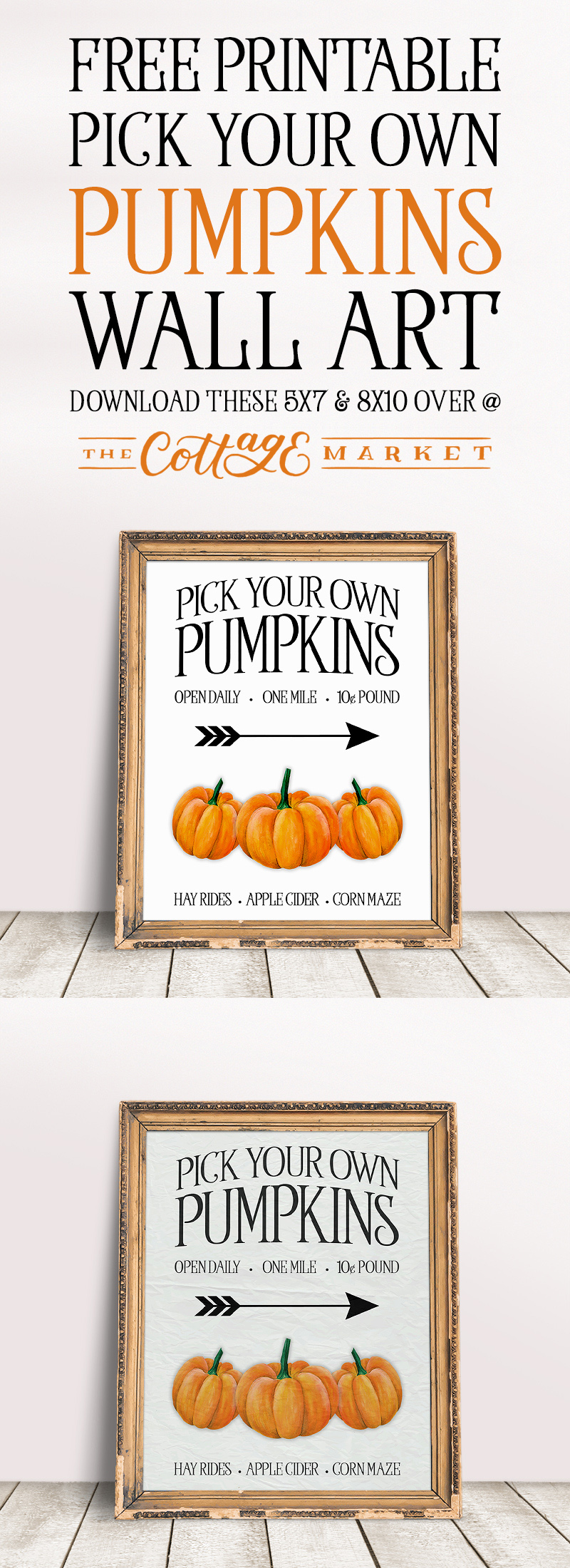It's time for some Free Printable Pick Your Own Pumpkins Wall Art. It's a great little piece of art that comes in 5X7 and 8X10! Hope you enjoy!