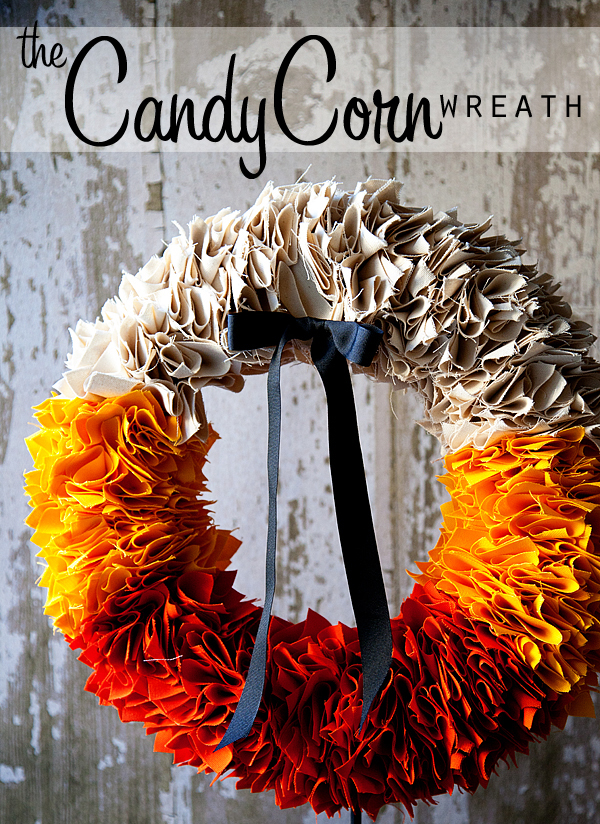 This DIY fabric wreath made with fall colors is festive for autumn.