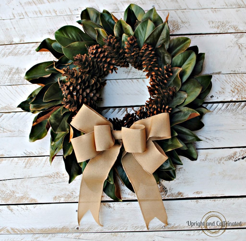 The pine cones add a nice fall touch to this DIY wreath.