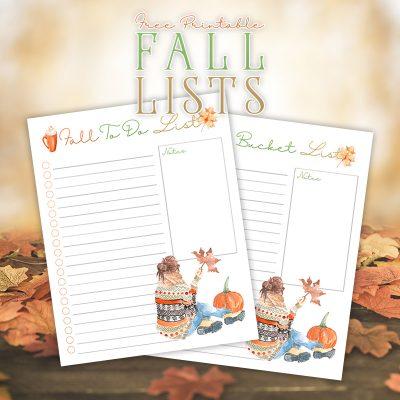 Free Printable Fall Lists