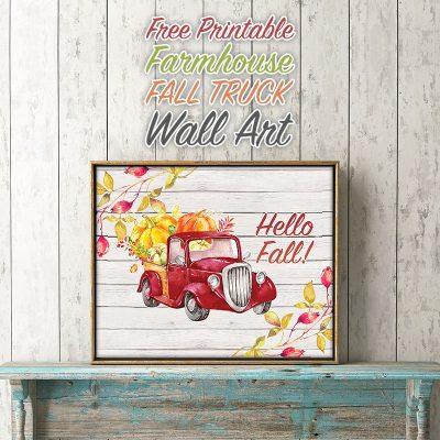 Free Printable Farmhouse Fall Truck Wall Art