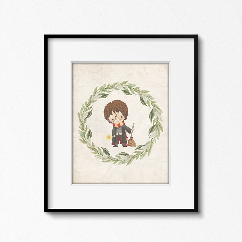 This Harry Potter printable with a white border is simple and cute.