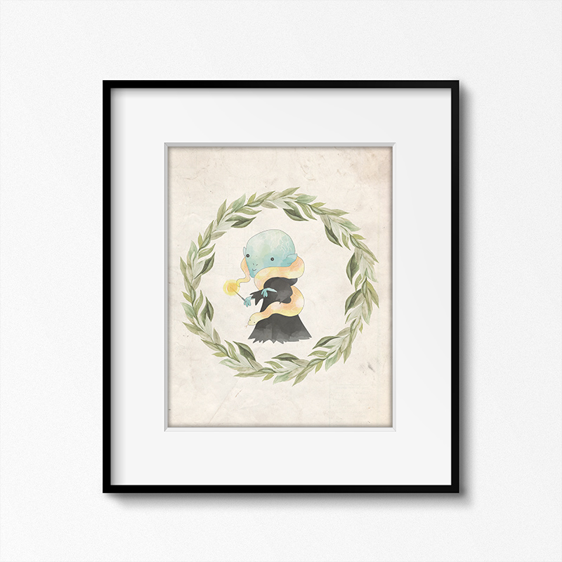 This Harry Potter themed printable with a white border is unique wall decor.