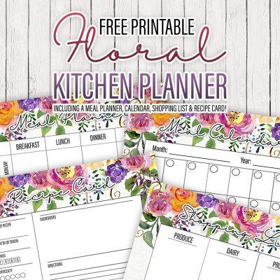 Free Printable Floral Kitchen Planner