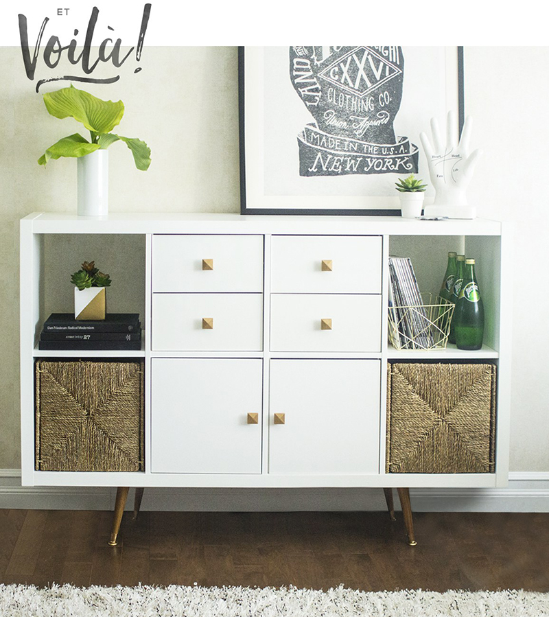 See how easy it is to make a Kallax IKEA Hack Buffet with tons of stylish storage!
