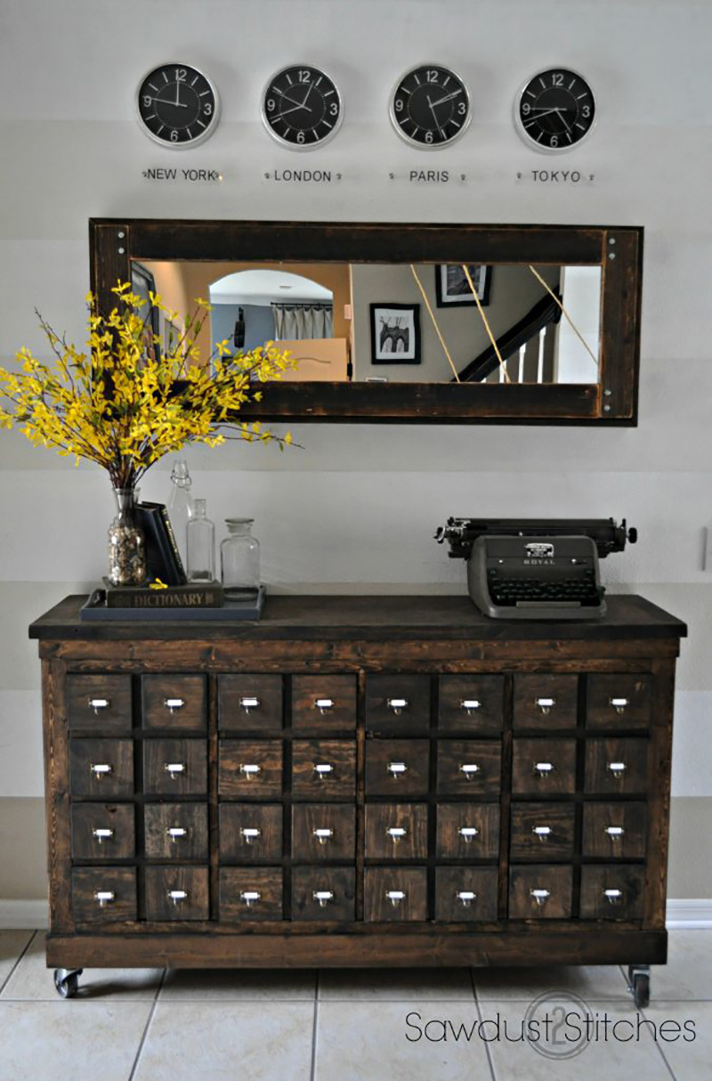 An IKEA Hack that has the style of a beautiful vintage Library Card Catalog!