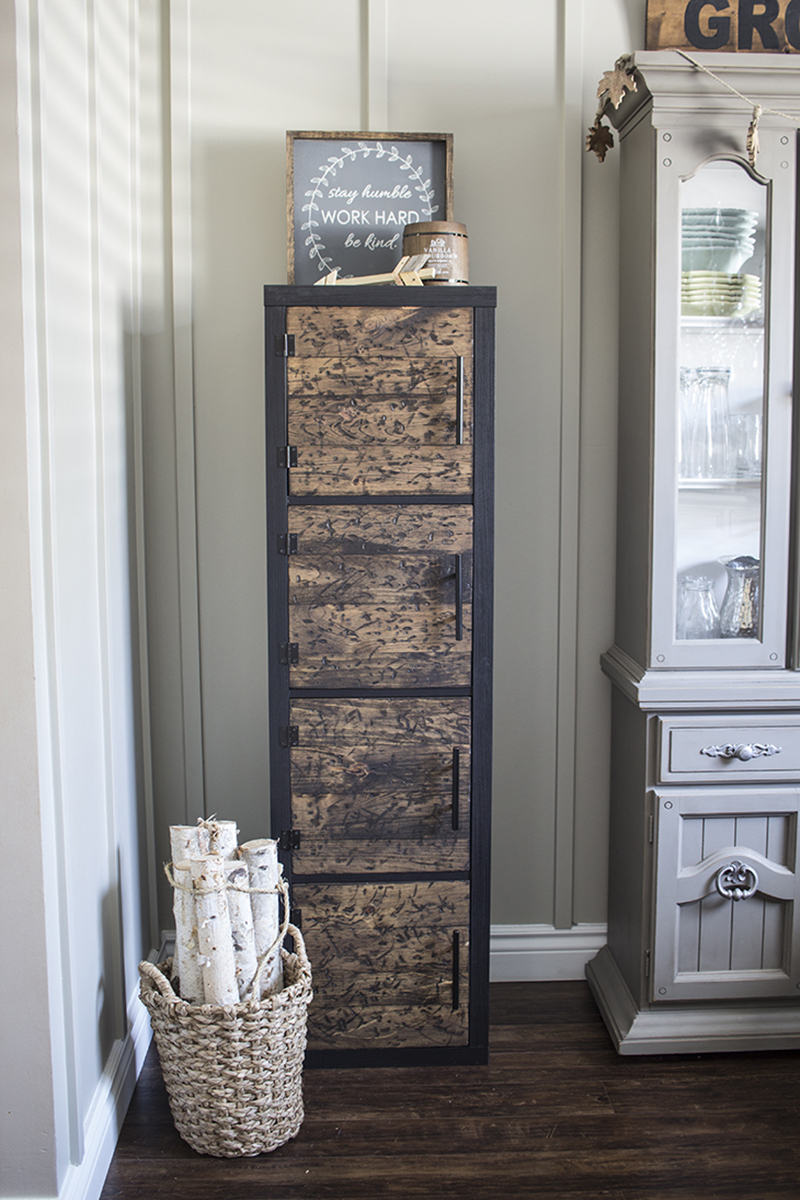 This Farmhouse IKEA Locker Hack is fabulous!  You can store tons in style!