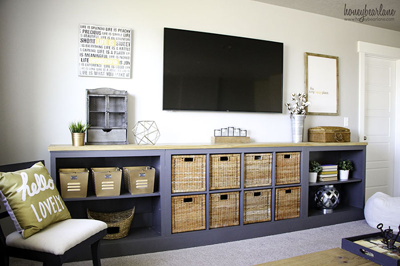 See how this double Kallax IKEA Hack was made.  Tons of Farmhouse style and even more storage.  Great for a Family Room... a place for everything!
