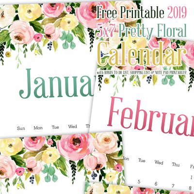 Free Printable 2019 5×7 Pretty Floral Calendar /// with Bonus To-Do List Shopping List and Note Pad!!
